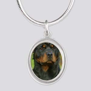 Rottweiler 9W044D-073 Silver Oval Necklace