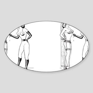 fem_mug_blk Sticker (Oval)