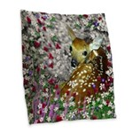 Bambina Fawn in Flowers I Burlap Throw Pillow