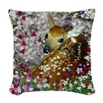 Bambina Fawn in Flowers I Woven Throw Pillow