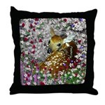 Bambina Fawn in Flowers I Throw Pillow