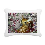 Bamina Fawn Flowers Rectangular Canvas Pillow