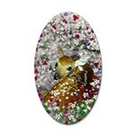 Bambina Fawn in Flowers I 20x12 Oval Wall Decal