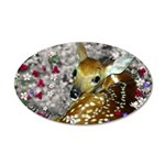 Bambina Fawn in Flowers I 35x21 Oval Wall Decal