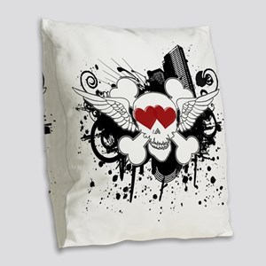 skulllove-black2 Burlap Throw Pillow