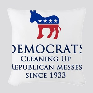 Democrats Cleaning Woven Throw Pillow