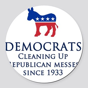 Democrats Cleaning Round Car Magnet