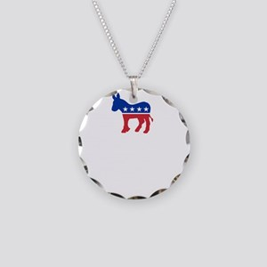 Democrats Cleaning - Black Necklace Circle Charm