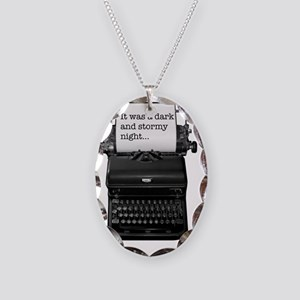 Dark and stormy night typeweri Necklace Oval Charm