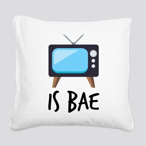 TV is Bae Emoji Square Canvas Pillow