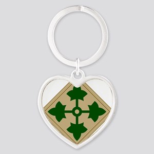 4th Infantry Division Heart Keychain