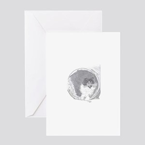 Shetland Sheepdog agility tunnel Greeting Cards