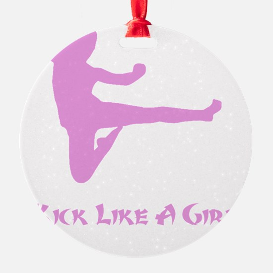 Kick Like A Girl Pink Ornament