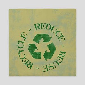 recycle4T2GrungeOliveGreenT2 Queen Duvet