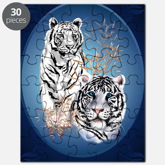 Two White Tigers Oval LargePoster Puzzle