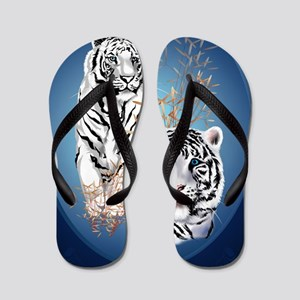 Two White Tigers Oval LargePoster Flip Flops