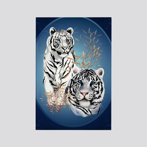 Two White Tigers Oval LargePoster Rectangle Magnet