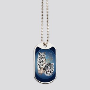 Two White Tigers Oval LargePoster Dog Tags