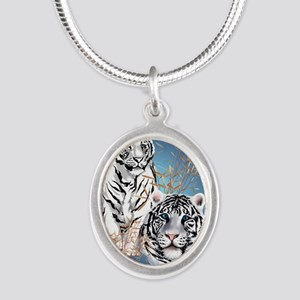 Two White Tigers Oval LargePo Silver Oval Necklace
