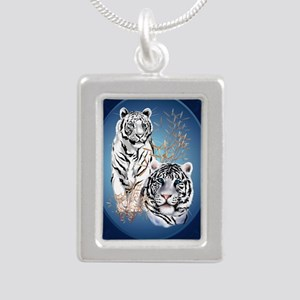 Two White Tigers Oval La Silver Portrait Necklace