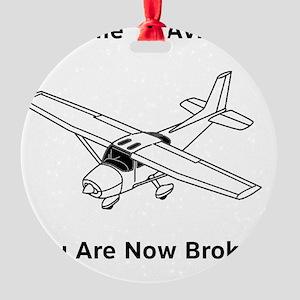 Aviation Broke Style 2 black Round Ornament