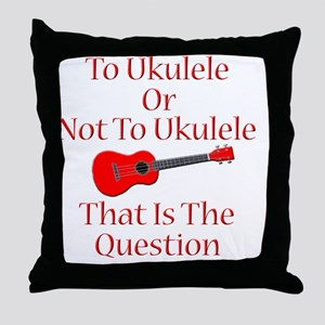 funny red ukulele musical instrument Throw Pillow