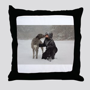Irish Wolfhound kissing Girl Throw Pillow
