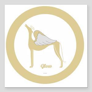 "GLOW ANGEL GREY gold rim Square Car Magnet 3"" x 3"""