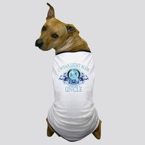 I Wear Light Blue for my Uncle (floral Dog T-Shirt