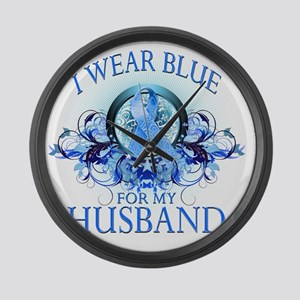 I Wear Blue for my Husband (flora Large Wall Clock