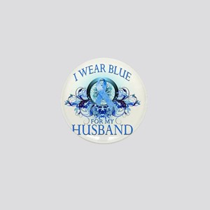 I Wear Blue for my Husband (floral) Mini Button