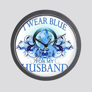I Wear Blue for my Husband (floral) Wall Clock