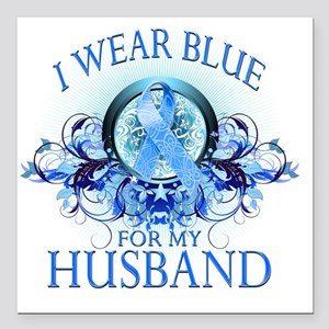 "I Wear Blue for my Husba Square Car Magnet 3"" x 3"""