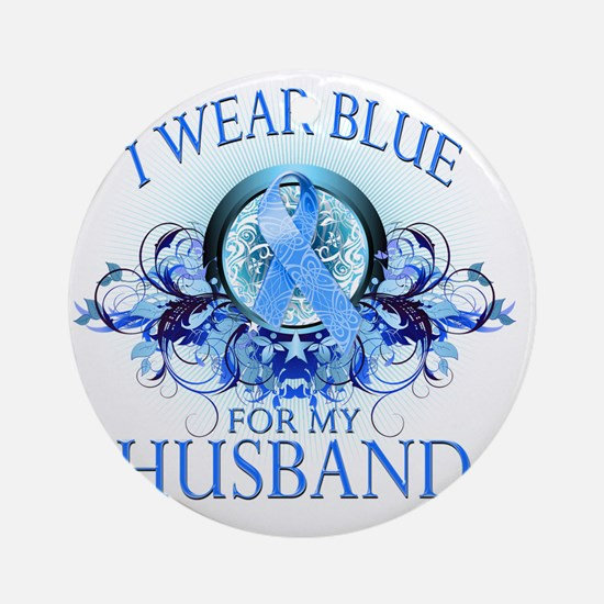 I Wear Blue for my Husband (floral) Round Ornament