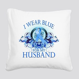 I Wear Blue for my Husband (f Square Canvas Pillow