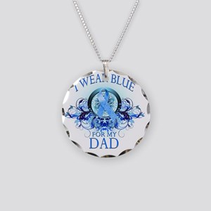 I Wear Blue for my Dad (flor Necklace Circle Charm