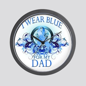 I Wear Blue for my Dad (floral) Wall Clock