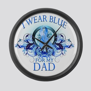 I Wear Blue for my Dad (floral) Large Wall Clock