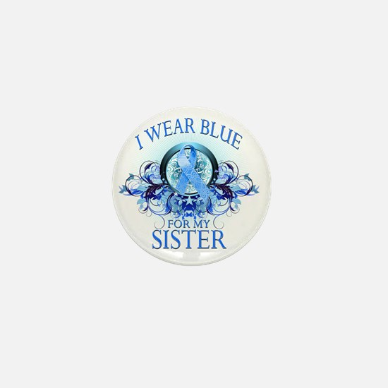 I Wear Blue for my Sister (floral) Mini Button