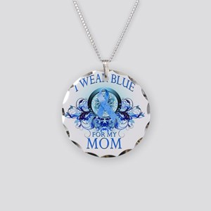 I Wear Blue for my Mom (flor Necklace Circle Charm