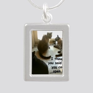 YouCouldOpenIt Silver Portrait Necklace