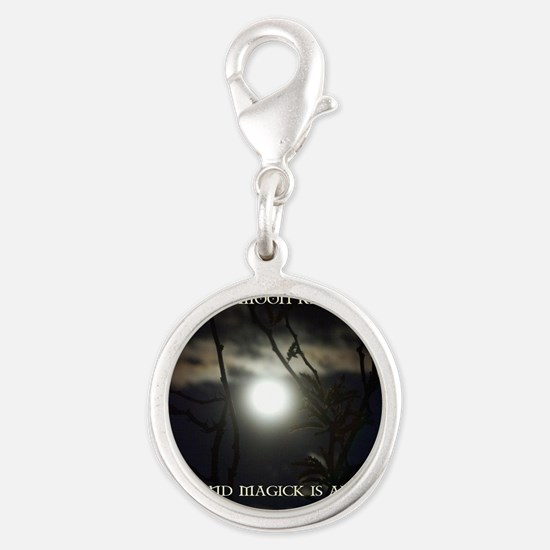 Full Moon Card Silver Round Charm