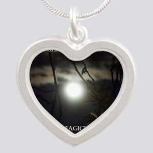 Full Moon Card Silver Heart Necklace