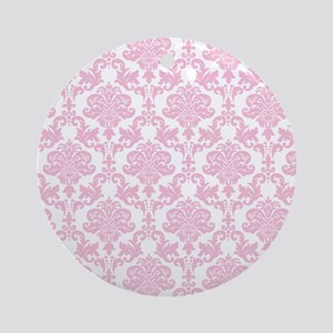 Pink Damask Ornament (Round)