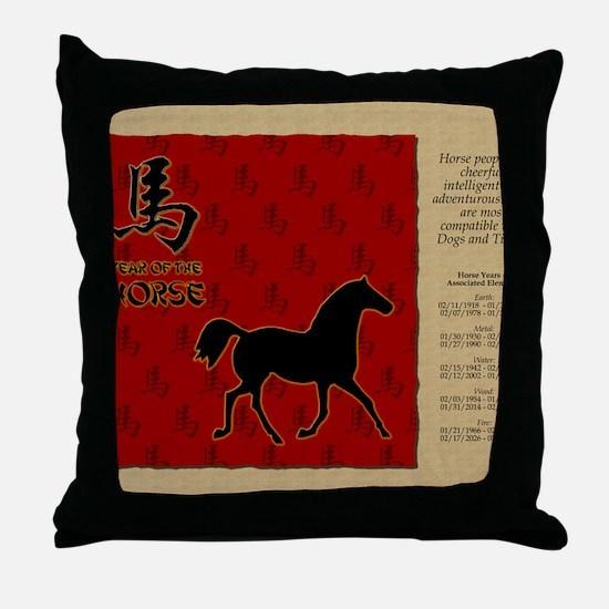 czodiac-07-horse Throw Pillow
