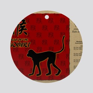 czodiac-09-monkey Round Ornament