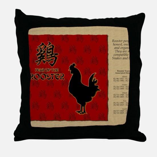 czodiac-10-rooster Throw Pillow