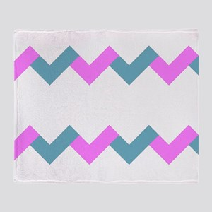 Aqua And Pink Chevrons Throw Blanket