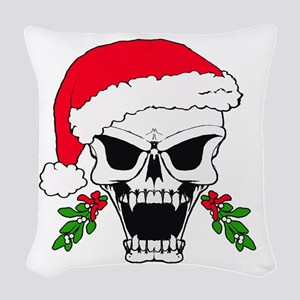 Santa skull Woven Throw Pillow