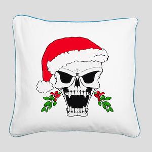 Santa skull Square Canvas Pillow